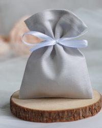 Šviesiai pilkas lininis maišelis smulkioms dovanoms